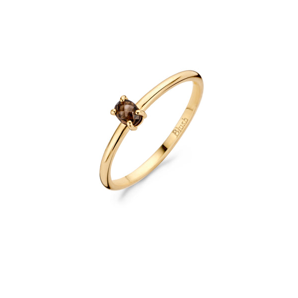 Ring 1204YSQ - Yellow gold with Smokey Quartz (14Crt.)
