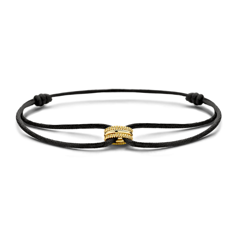 Bracelet 2175YGO - Yellow Gold with silk cord (14Crt.)