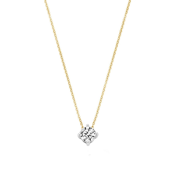 Necklace 3057BZI - Gold and White Gold (14Crt.) with Zirconia