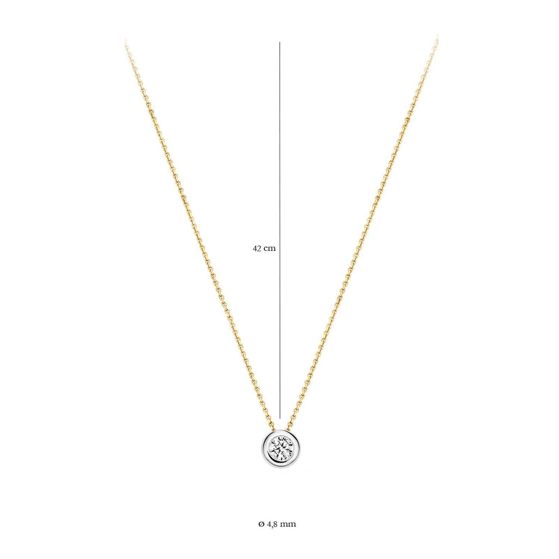 Necklace 3052BZI - Gold and White Gold (14Crt.) with Zirconia