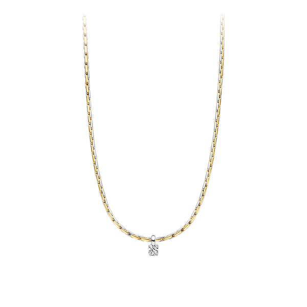 Necklace 3053BZI - Gold and White Gold (14Crt.) with Zirconia