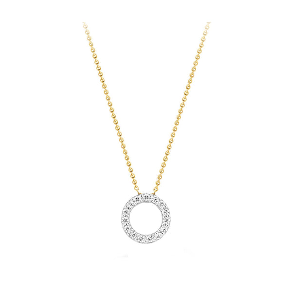 Necklace 3065BZI - Gold and White Gold (14Crt.) with Zirconia