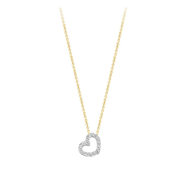Necklace 3072BZI - Gold and White Gold (14Crt.) with Zirkonia