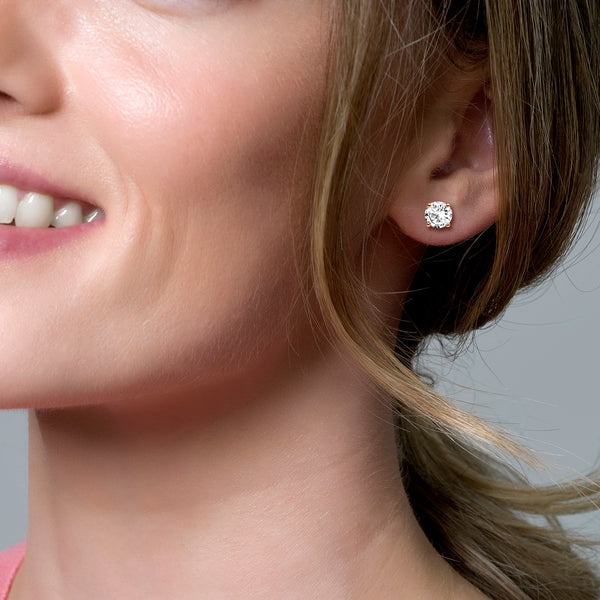 Ear studs 7014RZI -  Rose Gold  (14Crt.) with Zirconia