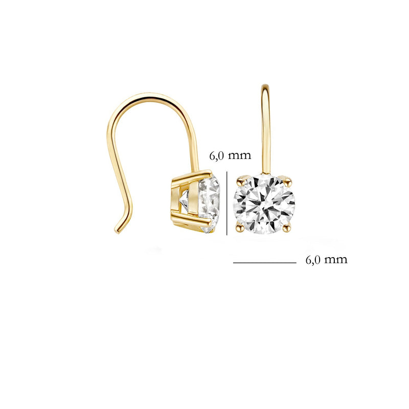 Earrings 7055YZI - Yellow Gold (14Crt.) with Zirconia