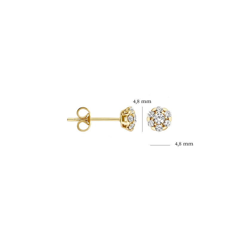 Ear studs 7241YZI - Yellow Gold with Zirconia (14crt.)