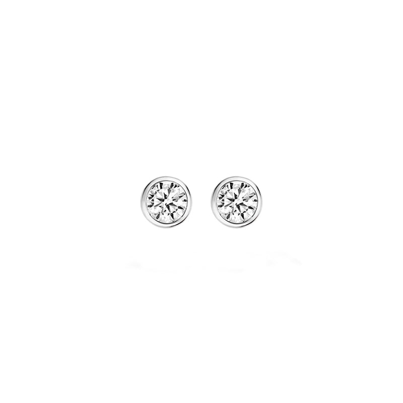 Ear studs 7256WZI - White Gold with Zirconia (14crt.)