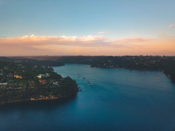 Aerial shot overlooking waterfront properties at Cheyne Walk and Peach Tree Bay - Sydney, Australia