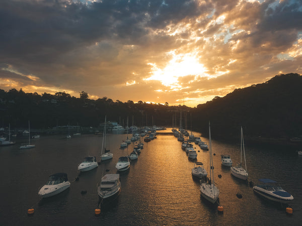 Sailboats and motorboats in Sailors Bay Marina - Sydney, Australia