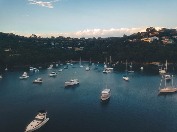Waterfront houses and boats at Sailors Bay, Sydney (The Bulwark, The Scarp, Oriel Reserve, Linden Way Reserve)