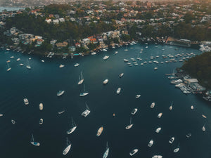 Stock image of boats and houses at Sailors Bay - Clive Park, Minimbah Rd, The Knoll and Mowbray Point