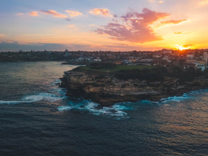 Drone shot of sunset at Bondi Bay, Mackenzies Point - Stock Photography