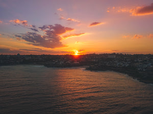 Sunset Stock Photo - Bronte Beach, Tamarama Beach, Tamarama Point and Mackenzies Point - Sydney, New South Wales, Australia