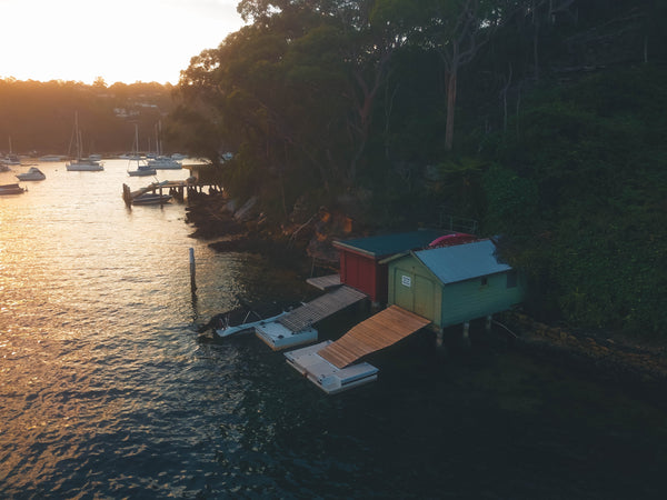 Beautiful Boathouses in the Sunset - Sailors Bay, Sydney, New South Wales, Australia