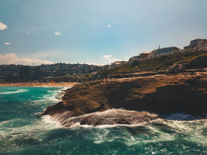 Stock image of rocks, ocean and Bronte beach