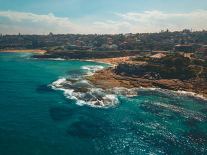 Drone shot of Tamarama Point, Tamarama beach and Bronte beach - edited with pilot presets