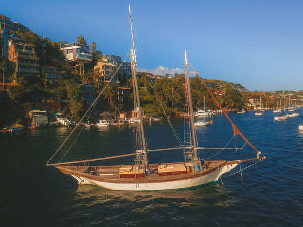 Wooden sailboat at Seaforth Bluff, Sydney, Australia