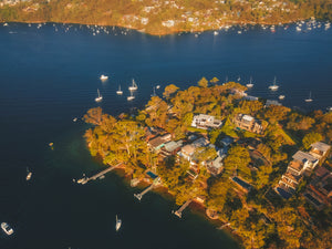 Waterfront properties at Sugarloaf Point, Edinburgh Road - Drone over Fig Tree Cove