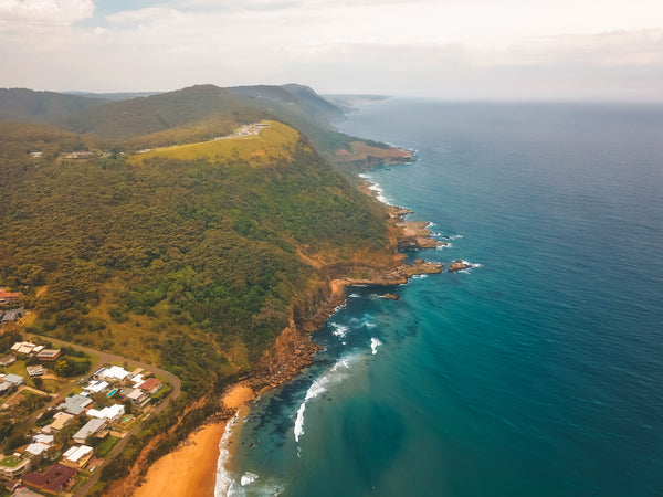 Colorful photo taken with a drone - Bald Hill lookout and Stanwell Park
