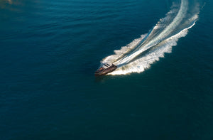 Drone shot of motorboat in Sydney - Free Stock Image