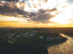 Sunset at Sailors Bay, Sydney - Mowbray Point, Minimbah Rd Houses and Chatswood. St Leonards in the distance
