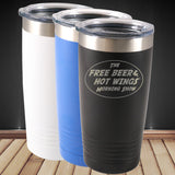 Free Beer and Hot Wings Logo Tumbler
