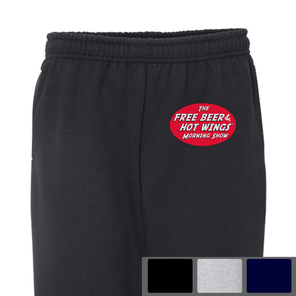 Free Beer and Hot Wings Logo - Open-Bottom Sweatpants