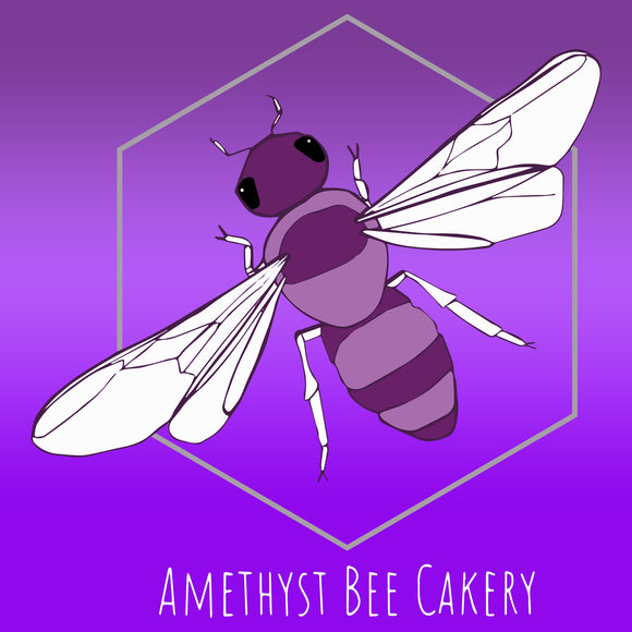 Amethyst Bee Cakery Logo - White Text