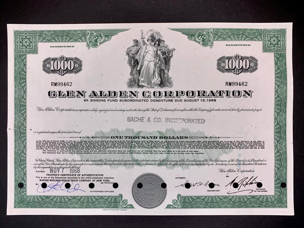 Obligatie Glen Alden Corporation $1000 - 1968 - World of Maps & Travel