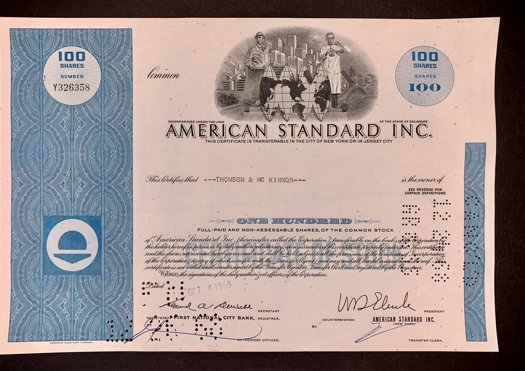 Aandeel American Standard Inc. - 1968 - World of Maps & Travel