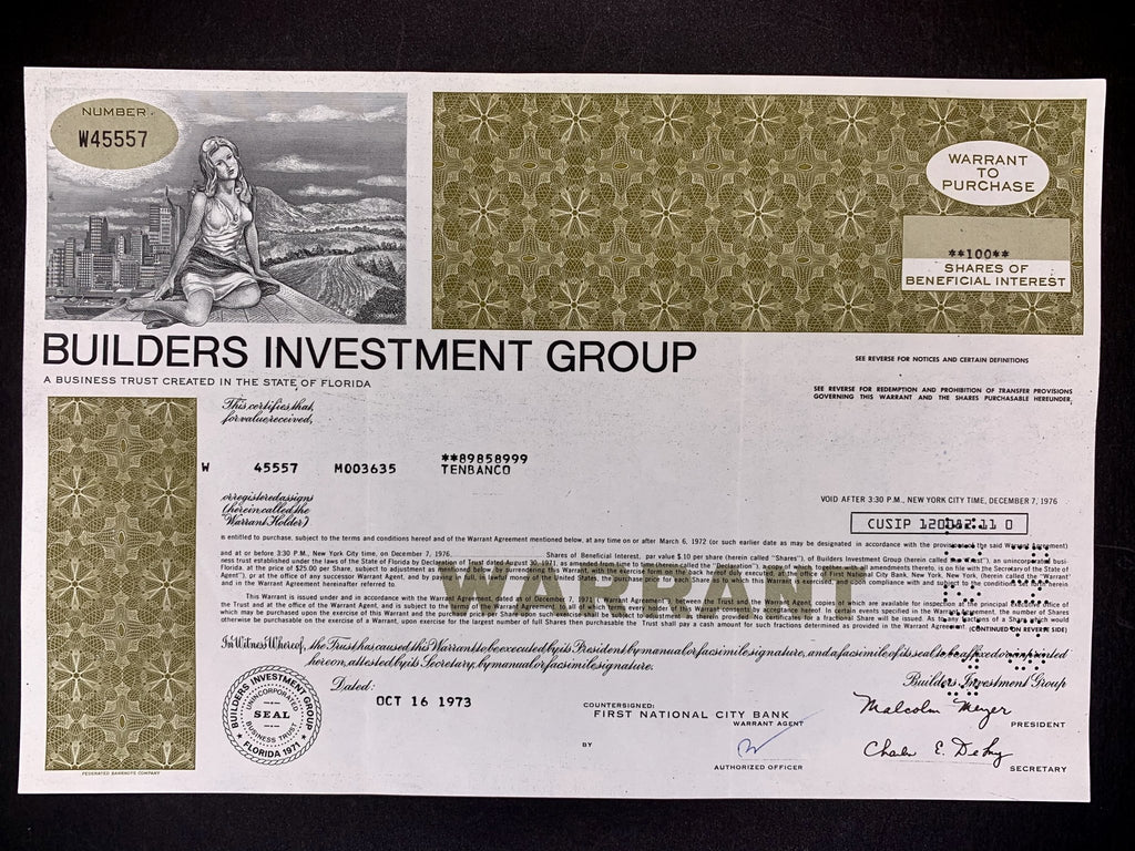 Aandeel Builders Investment Group - 1973 - World of Maps & Travel