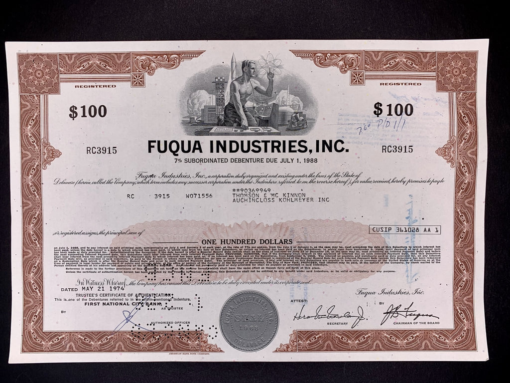Aandeel Fuqua Industries, Inc $100,- (werd Metromedia International) - 1974 - World of Maps & Travel