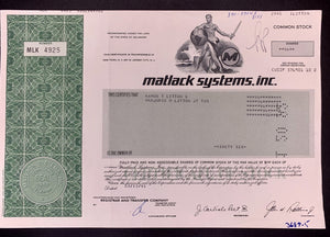 Aandeel Matlack Systems, Inc. - 1991 - World of Maps & Travel