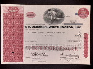 Aandeel Studebaker Worthington , Inc. (Old Studebaker Car Company) - 1970 - World of Maps & Travel
