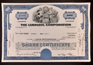 Aandeel The Lubrizol Corporation 1972 - (nu onderdeel van Berkshire Hathaway, Warren E. Buffett) - World of Maps & Travel