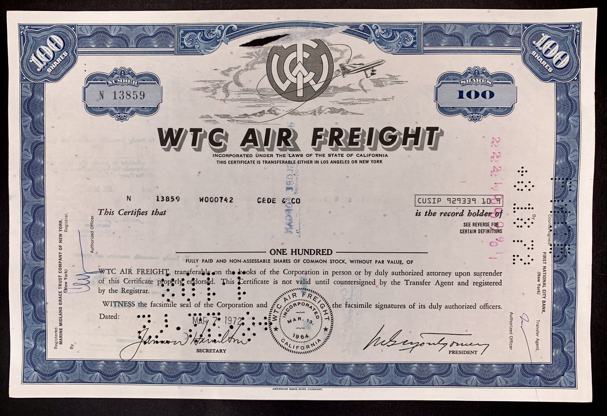 Aandeel WTC Air Freight Company - 1972 - World of Maps & Travel