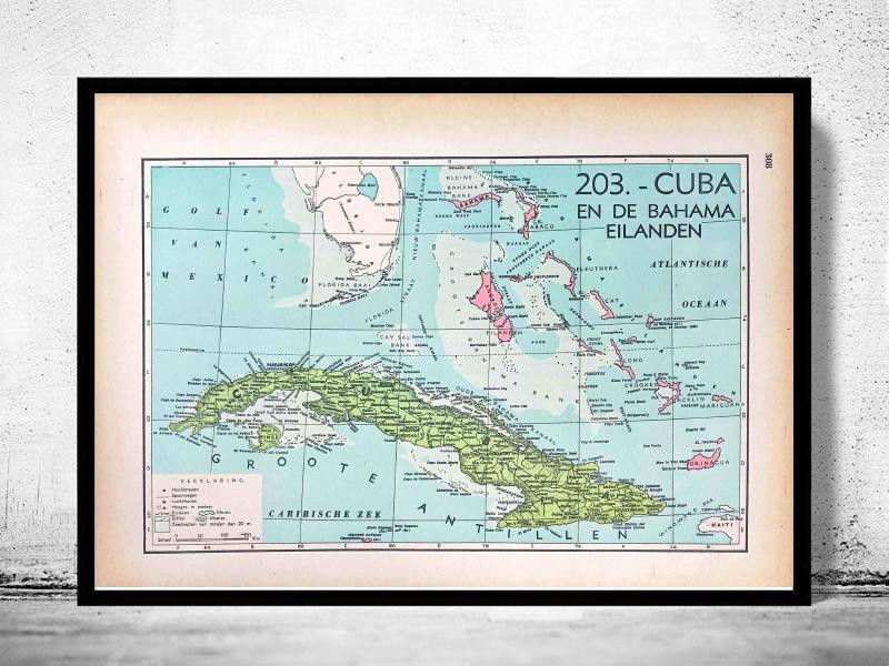 Cuba & Bahama's - 1939 - World of Maps & Travel