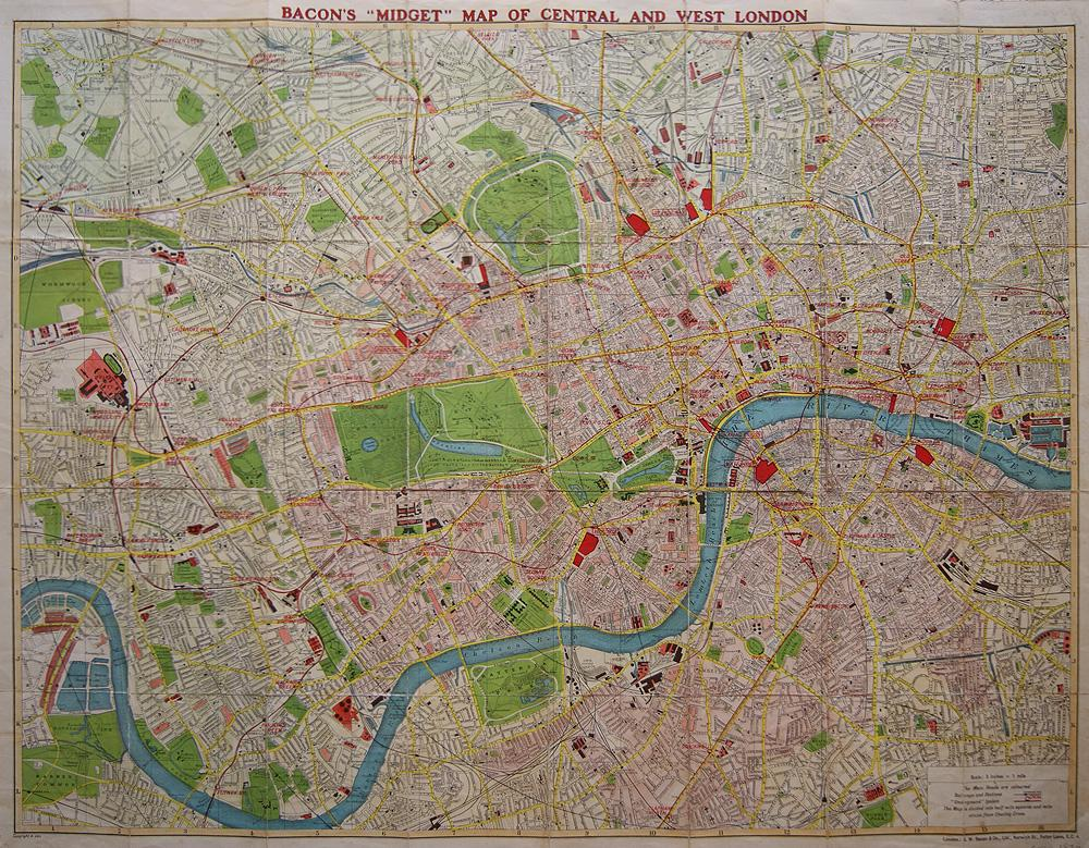 London, Central and West, Bacon, ca 1930 - World of Maps & Travel