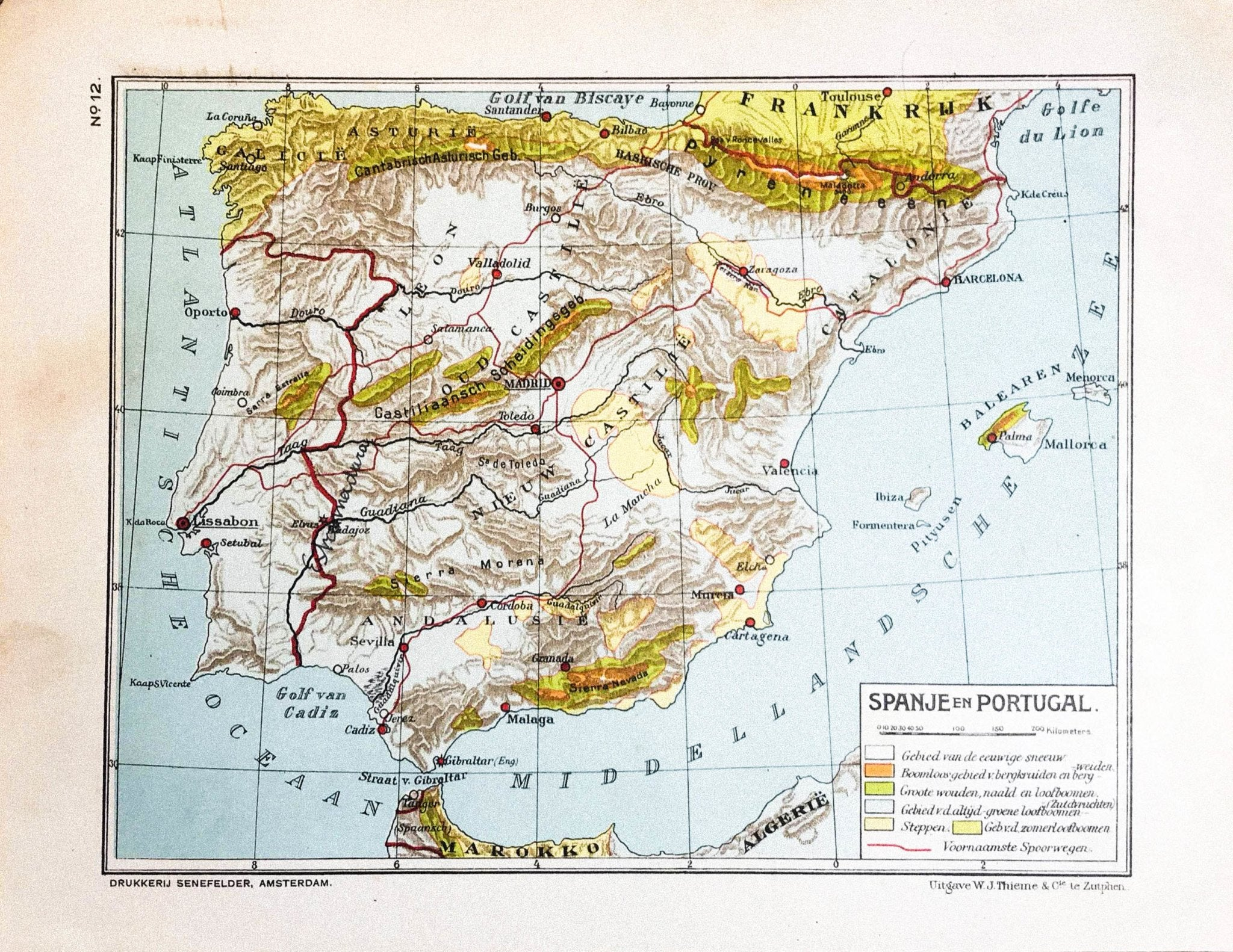 Spanje en Portugal - 1930 - World of Maps & Travel