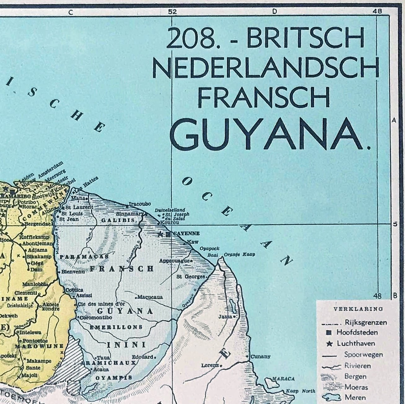 Suriname , Guyana, Frans - Gyuana - 1939 - World of Maps & Travel
