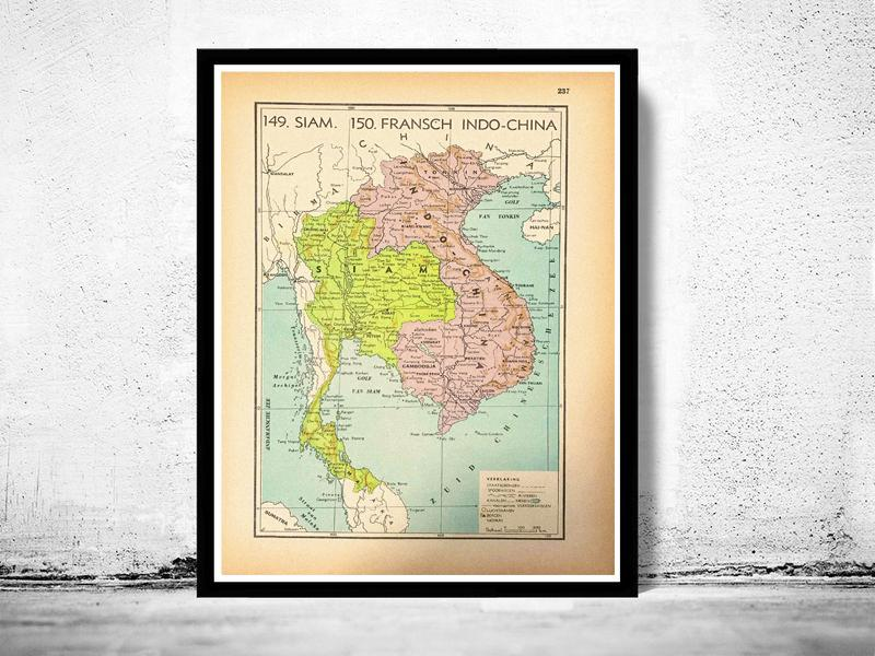 Thailand, Cambodja & Vietnam (voormalig Siam & Frans Indo-China) - 1939 - World of Maps & Travel