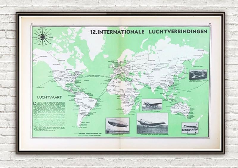 Wereldkaart - Internationale luchtverbindingen anno 1939 - World of Maps & Travel