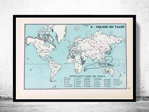 Wereldkaart - Volken en Talen - 1939 - World of Maps & Travel