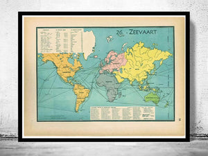 Wereldkaart - Zeevaart anno 1939 - World of Maps & Travel
