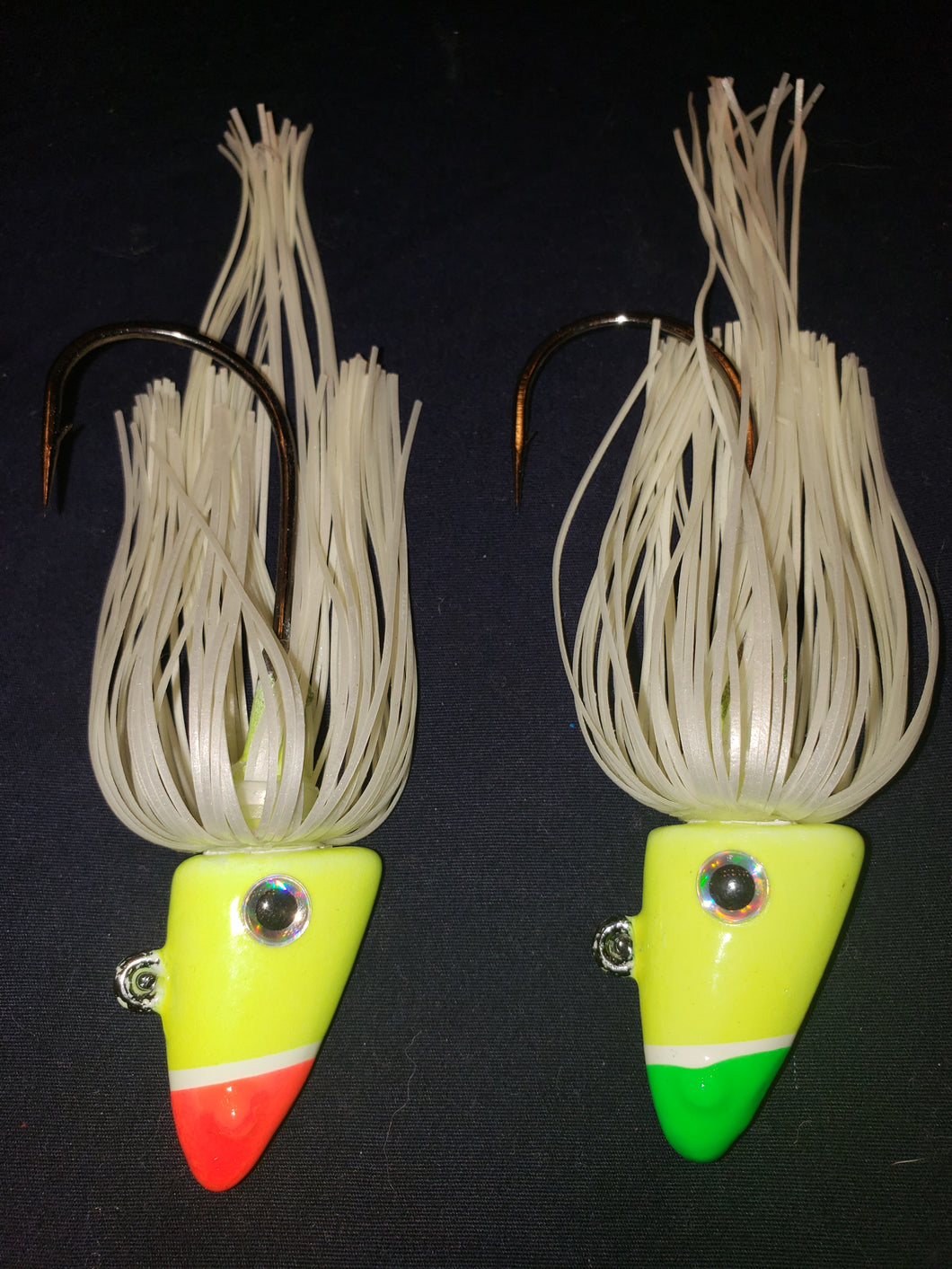 Shad Head w/Skirt - Glow Yellow or Glow Green