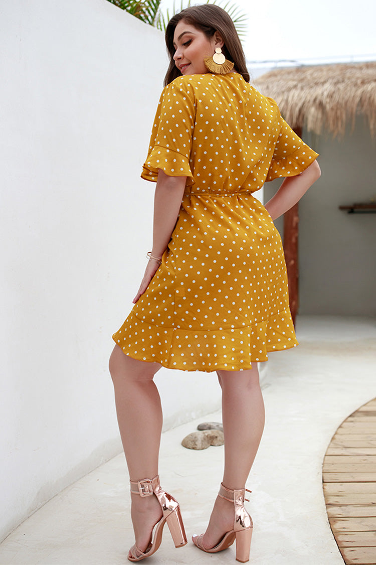 Lolglas Polka Dot Mini Dress - Yellow