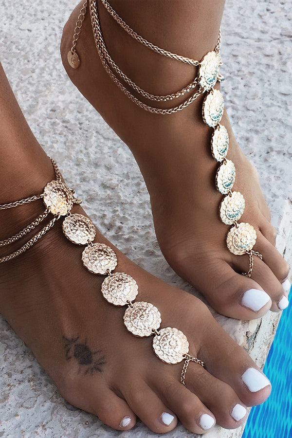 Lolglas Bohemian Layers Sunflower Beach Toe Anklet