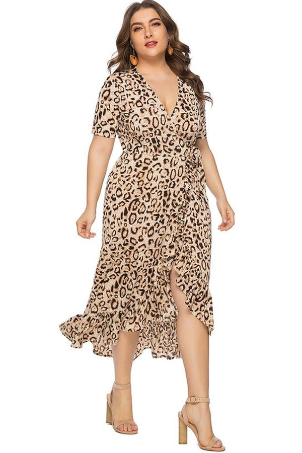 Lolglas Plus Size Leopard Short Sleeves Ruffles Dress