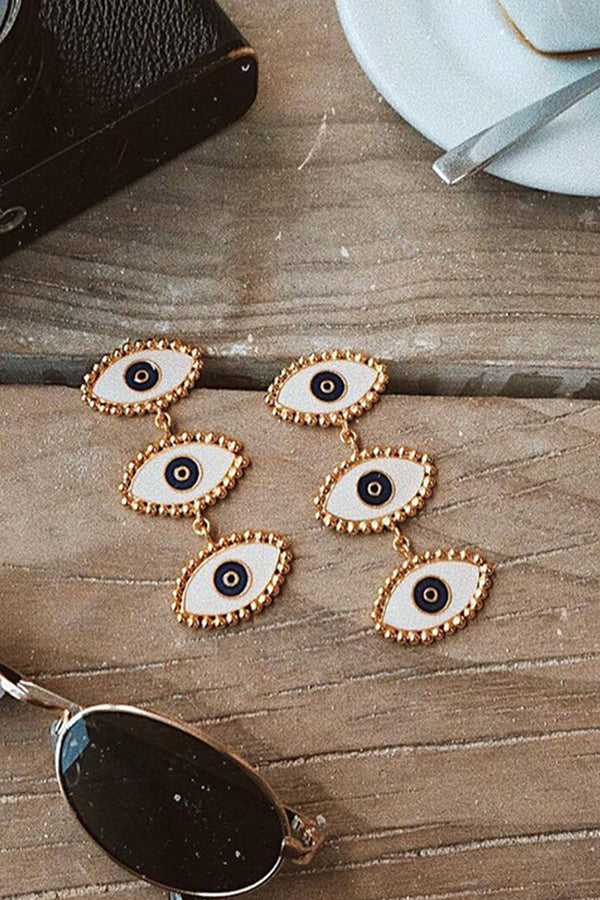 Lolglas 3 Eyes Pendant Stud Earrings