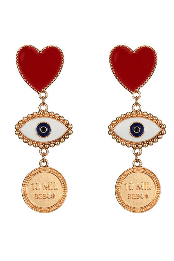Lolglas Heart and Eyes Disc Pendant Earrings